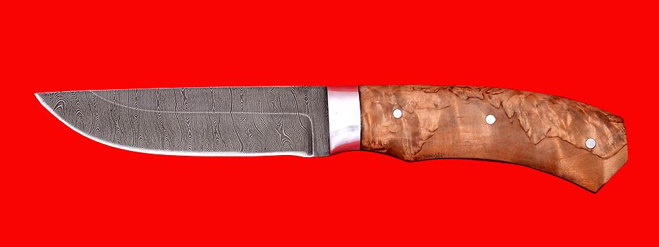 """Охотничий нож """"Бурундук"""", цельнометаллический, клинок дамасская сталь, рукоять карельская берёза"""