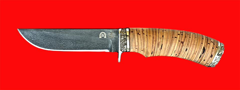 "Нож ""Грибник-2"", клинок тигельный булат, рукоять береста, мельхиор"