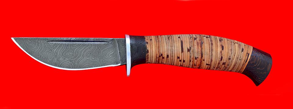 """Нож """"Охота"""", клинок дамасская сталь, рукоять береста"""