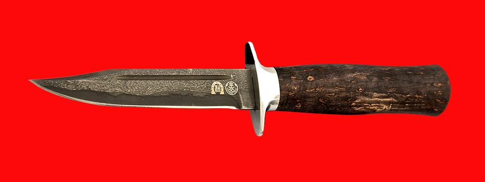 """Нож """"Разведчик"""", клинок тигельный булат, рукоять стабилизированная карельская берёза (цвет чёрный)"""