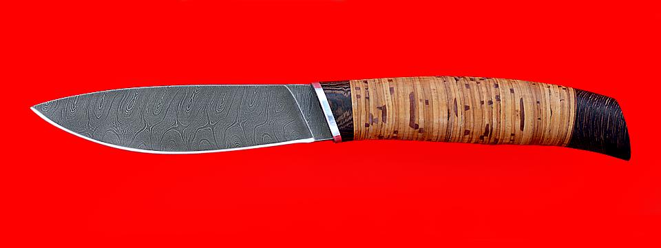 """Нож """"Рыбка"""", клинок дамасская сталь, рукоять береста"""