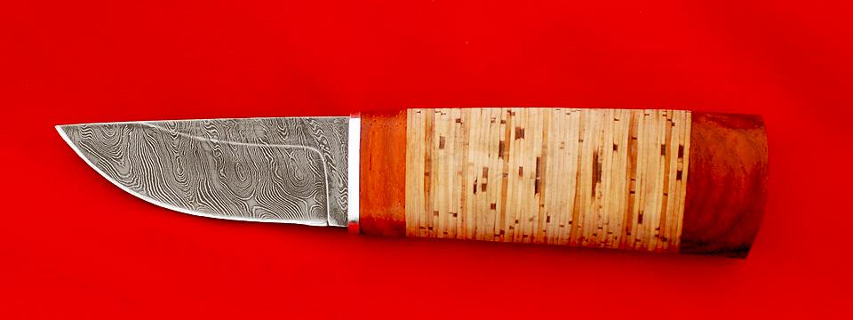 """Охотничий нож """"Северный"""", клинок дамасская сталь, рукоять береста"""