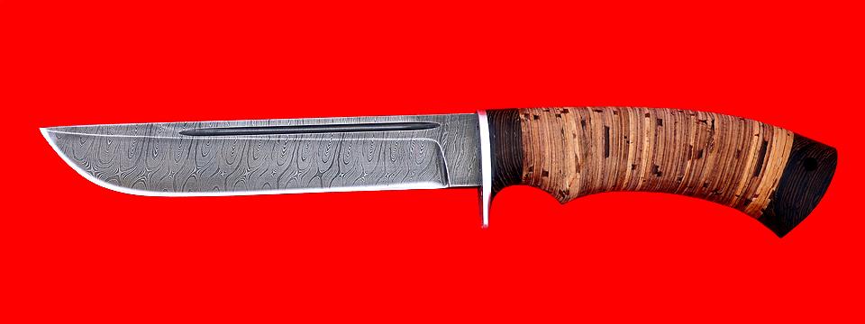 """Охотничий нож """"Тайга"""", клинок дамасская сталь, рукоять береста"""