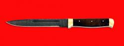 """Нож """"Диверсант №1"""", цельнометаллический, клинок дамасская сталь, рукоять орех, латунь"""