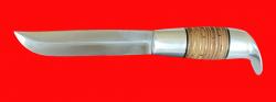 """Финка """"Фронтовая"""", клинок сталь 95Х18, рукоять наборная береста-латунь"""