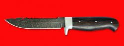 """Нож """"Рыбацкий-3"""", цельнометаллический, клинок дамасская сталь, рукоять венге"""