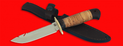 """Нож """"Рыбацкий-4"""", клинок порошковая сталь ELMAX, рукоять береста, с гардой"""