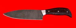 """Нож """"Шинковочный малый"""", цельнометаллический, клинок дамасская сталь, рукоять венге"""